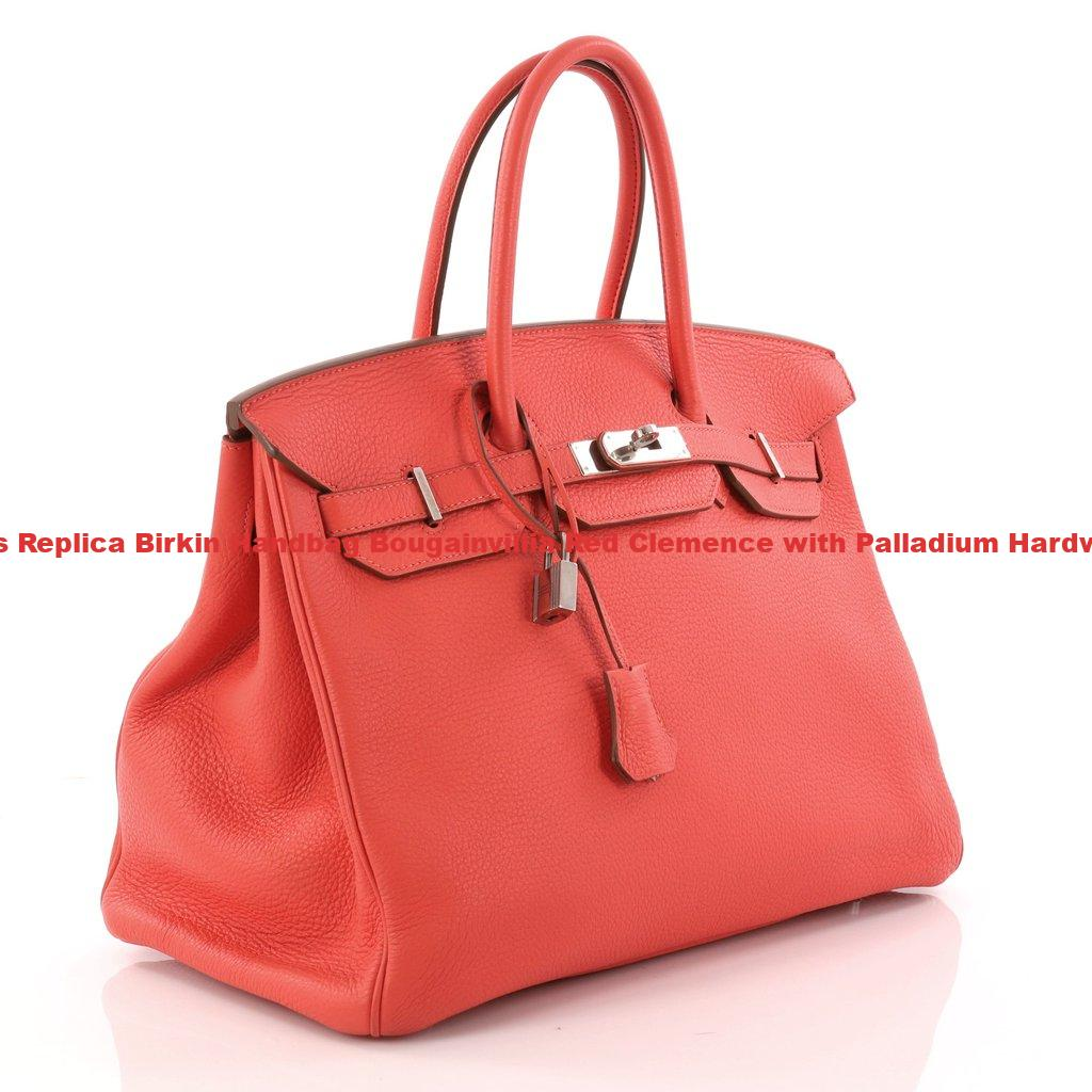 Hermes Replica Birkin Handbag Bougainvillia Red Clemence with Palladium  Hardware 35 597a281e15073