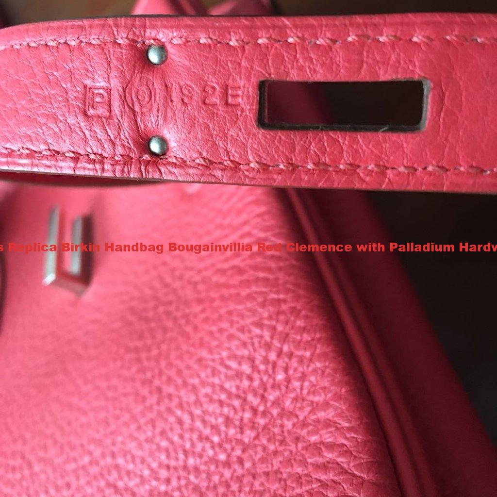 99788754b6 Hermes Replica Birkin Handbag Bougainvillia Red Clemence with Palladium  Hardware 35