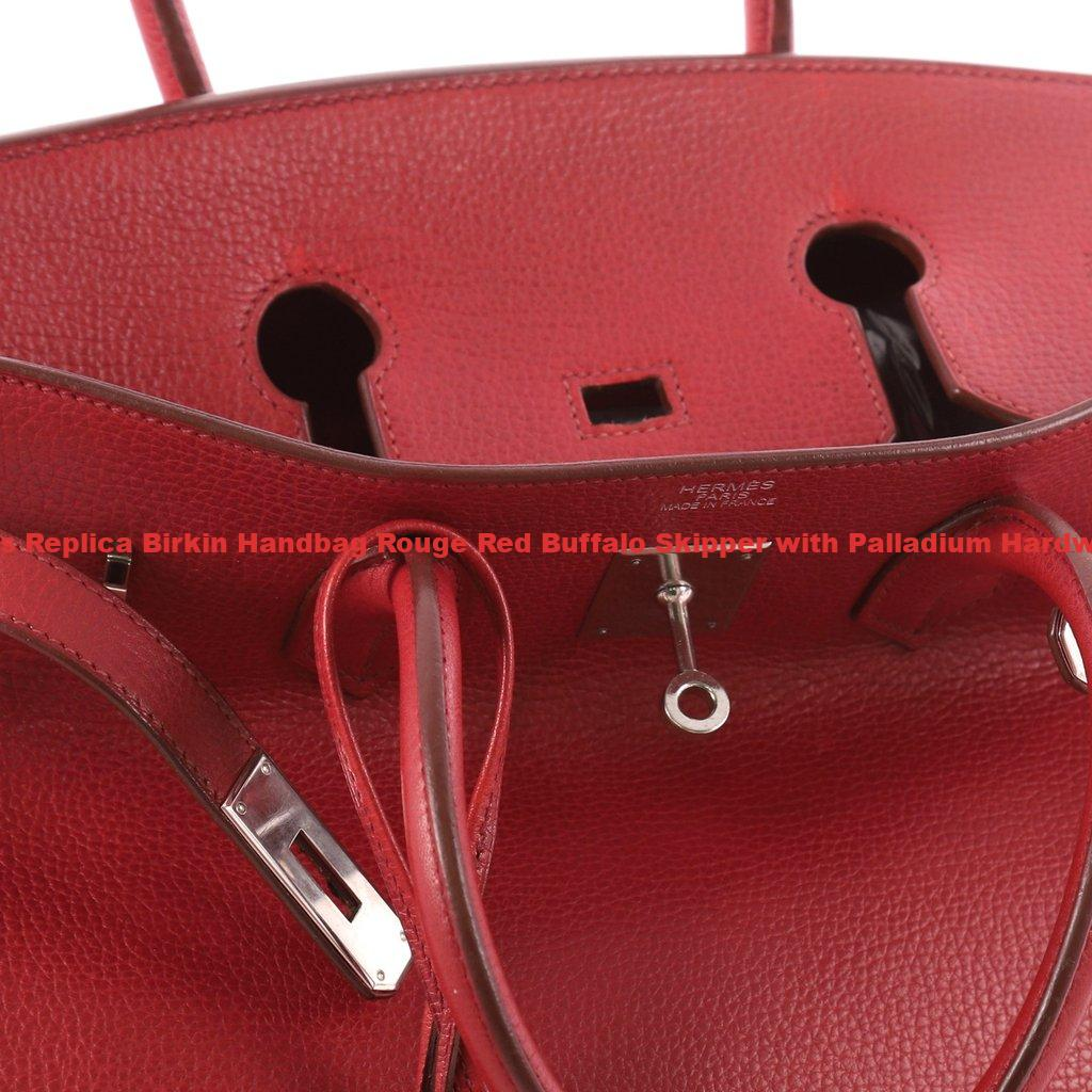 dee7d6abda8 Hermes Replica Birkin Handbag Rouge Red Buffalo Skipper with Palladium  Hardware 35